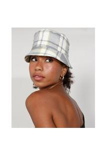 Chapéu Bucket Hat Feminino Mindset Estampado Xadrez Bege Claro