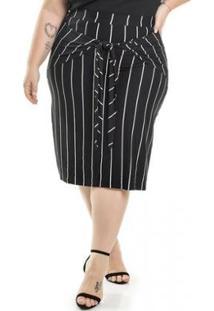 Saia Plus Size Malha De Viscose Com Nó Listrada Miss Masy Plus Feminina - Feminino-Preto