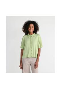 Camisa Manga Curta Em Viscose Sem Estampa   Marfinno   Verde   G
