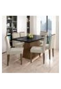 Conjunto De Mesa De Jantar Com Tampo De Vidro Bárbara E 6 Cadeiras Ana I Animalle Preto E Creme