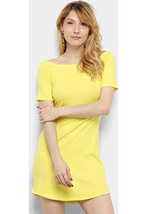 Vestido Triton Curto Liso - Feminino-Amarelo Claro
