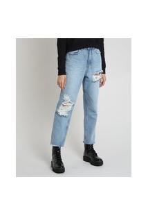 Calça Jeans Feminina Mom Cropped Cintura Super Alta Com Rasgos Azul Claro
