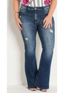 Calça Jeans Flare Sawary Com Puídos