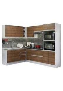 Cozinha Completa De Canto 100% Mdf Madesa Acordes 419003 Com Armário E Balcão (Sem Tampo E Pia) Branco/Rustic Cor:Branco/Rustic