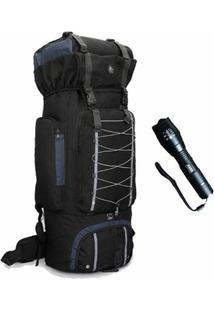 Kit Mochila Camping Adventure 80 Litros E Lanterna X900 Original Militar Americana - Unissex