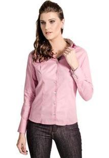 Camisa Slim Reta Poá Carlos Brusman Feminina - Feminino-Rosa Claro