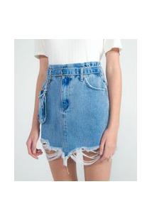Saia Jeans Com Puídos E Cinto Pochete | Blue Steel | Azul | 38