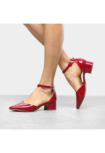 Scarpin Drezzup Salto Baixo Bico Fino - Feminino-Vermelho