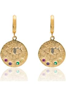Hermina Athens Par De Brincos Eye Coin Banhados A Ouro - Metallic