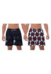 Kit 2 Shorts Preto Caveiras Brancas Vermelhas Estilo Moderno Banho Moda Praia Esporte W2