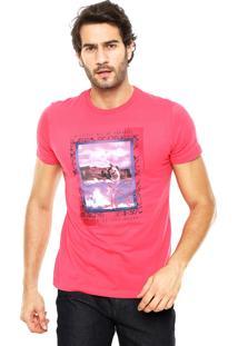 Camiseta Enfim Estampada Rosa
