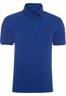Polo Masculina Ckj Mc Estampa Logo - Azul
