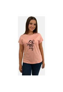 "T-Shirt Camiseta Feminina ""Oh Happy Day"""" Manga Curta Rosê"""