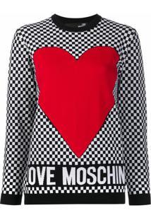 Love Moschino Suéter Com Estampa De Coração - Branco