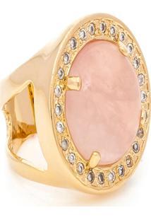 Anel Kumbayá Redondo Semijoia Banho De Ouro 18K Pedra Natural Quartzo Rosa E Cravação De Zircônias