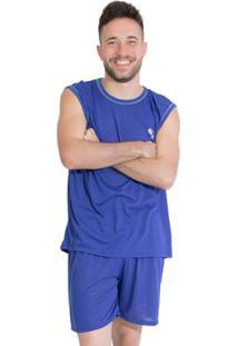 Pijama Linha Noite De Malha Masculino - Masculino-Azul