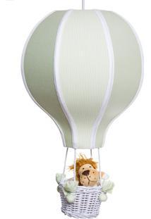 Lustre Balão Grande Com Leão Quarto Bebê Infantil Potinho De Mel Verde