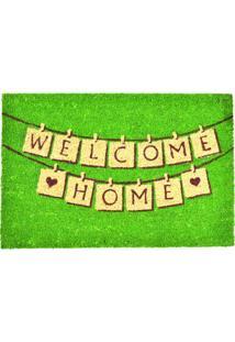 Capacho Retangular 61X40Cm Welcome Home Bege E Verde Espressione 407-013