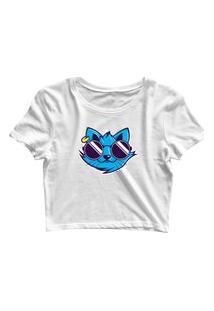 Blusa Blusinha Feminina Cropped Tshirt Camiseta Cat Blue Branco