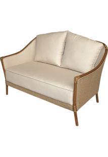 Sofa Parma 2 Lugares Assento Cor Bege Com Estrutura Madeira Apui - 44780 - Sun House
