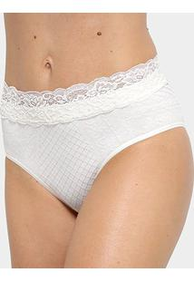 Calcinha Tanga Lupo Loba Fifties Renda Sem Costura - Feminino-Off White