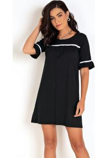 Vestido Evasê Preto Com Faixa Contrastante