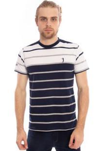 Camiseta Aleatory Listrada Long Masculina - Masculino-Branco
