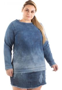Blusa Plus Size - Confidencial Extra Jeans Manga Longa Plus Size