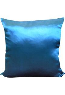 Capa Para Almofada Cetim Liso 45X45 - Perfil Matelados - Azul Medio