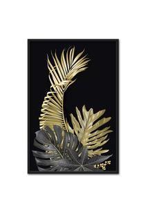 Quadro 90X60Cm Folhagem Dourada Hostoa Palmeira Moldura Preta Com Vidro
