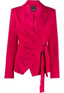 Pinko Blazer Com Amarração Lateral - Vermelho