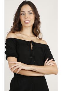 Blusa Feminina Cropped Ombro A Ombro Texturizada Com Amarração Manga Curta Preta