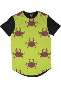 Camiseta Longline Long Beach Náutica Caranguejo Sublimada - Masculino-Amarelo