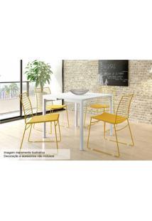 Sala De Jantar Carraro Mesa 1525+4 Cadeiras Amarelo