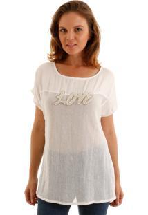 Blusa Aha Com Tela Off- White
