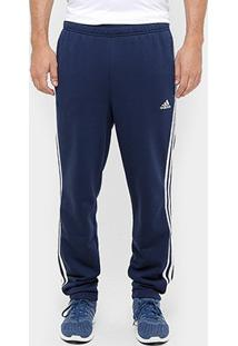 Calça Adidas Essential 3S Tapered French Terry Masculina - Masculino-Marinho+Branco