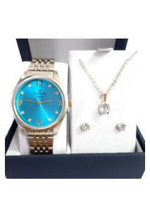 Kit Champion Fundo Azul Com Colar E Brinco Cn26251Y