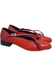 Scarpin Couro Sapatos E Botas Tiras Salto Baixo Feminino - Feminino-Coral