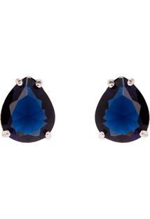 Brinco Gota The Ring Boutique Pedra Cristal Azul Safira Ródio Ouro Branco