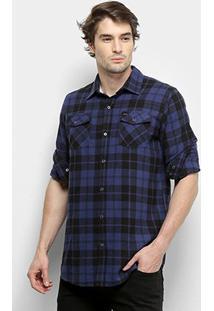 Camisa Gajang Xadrez Jhonson Nash Masculina - Masculino-Azul
