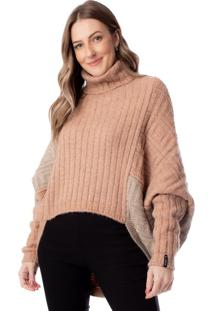 Blusa Feminina De Tricô Biamar Oversized Bege/Rosé - U