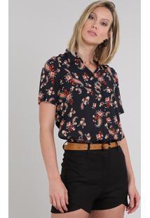 Camisa Feminina Estampada Paisley Com Fenda Manga Curta Preta