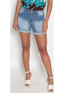 Bermuda Jeans Com PuãDos Barra Dobrada-Azul Claro-Fifio Brasil