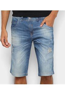 Bermuda Jeans Zune Com Puídos Masculina - Masculino