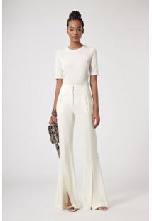Calça Pantalona Com Fendas Frontais Off White Espanha Off White - 42