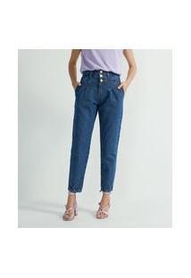 Calça Slouchy Jeans Com Pala Frontal E Botões Madre Pérola | A-Collection | Azul | 38