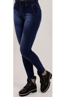ff228787f Lojas Pompeia. Calça Jogger Jeans Feminina Mokkai Azul
