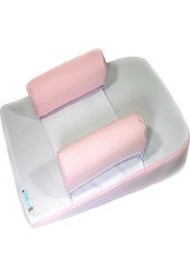 Travesseiro Anti-Refluxo Com Rolinho Baby Holder Rosa E Branco.