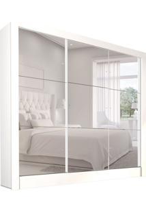 Guarda-Roupa Casal Com Espelho Galaxy Top 3 Pt Branco