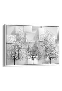 Quadro 60X90Cm Árvores Sem Folhas Monocromática Com Retângulos Preto E Cinza Canvas Moldura Flutuante Branca